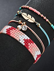cheap -4pcs Women's Bead Bracelet Vintage Bracelet Earrings / Bracelet Layered Leaf Weave Simple Classic Trendy Fashion Cute Cord Bracelet Jewelry Pink For Gift School Holiday Festival / Pendant Bracelet