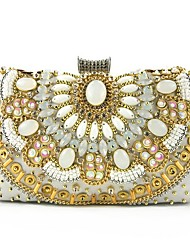 cheap -Women's Crystals Polyester Evening Bag Black / White