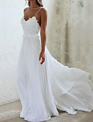cheap -A-Line V Neck Sweep / Brush Train Chiffon Spaghetti Strap Made-To-Measure Wedding Dresses with Lace Insert 2020