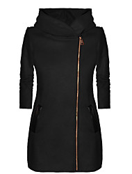cheap -Women's Casual / Street chic Hoodie Jacket - Solid Colored Black S
