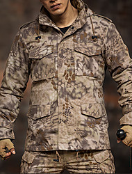 cheap -Men's Hunting Jacket Outdoor Waterproof Windproof Warm Soft Fall Winter Camo Jacket Top Eco-friendly Polyester Camping / Hiking Hunting Climbing Black Brown Army Green