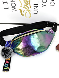 cheap -Unisex Bags PU Leather Fanny Pack Glitter Graffiti Bum Bag Daily White Black Red Yellow