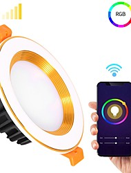 cheap -1pc 7 W 900 lm 12 LED Beads Bluetooth Speaker Dimmable Easy Install LED Downlights Change RGB+Warm RGB+White 100-240 V Ceiling Commercial Home / Office Halloween Christmas