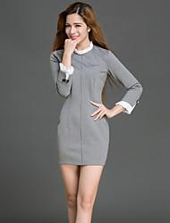 cheap -Women's Date Festival Basic Elegant Bodycon Dress - Color Block Patchwork Gray S M L XL
