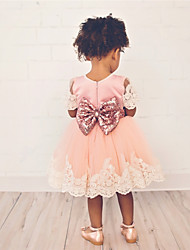 cheap -Kids Toddler Girls' Sweet Cute Solid Colored Lace Trims Short Sleeve Above Knee Dress Blushing Pink