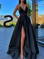 cheap -A-Line Spaghetti Strap Sweep / Brush Train Satin Sexy / Black Prom / Formal Evening Dress with Split Front / Pleats 2020