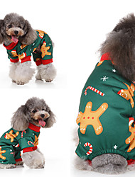 cheap -Dogs Cats Vest Christmas Dog Clothes Green Costume Husky Labrador Alaskan Malamute Polyester Canvas Mixed Material Christmas S M L XL