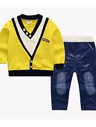 cheap -Baby Boys' Basic Print Long Sleeve Regular Regular Clothing Set Yellow