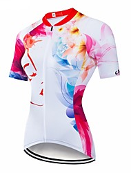 cheap -CAWANFLY Women's Short Sleeve Cycling Jersey Red / White Geometic Bike Jersey Top Mountain Bike MTB Road Bike Cycling Breathable Quick Dry Back Pocket Sports Clothing Apparel / Advanced / Expert