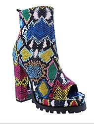 رخيصةأون -نسائي صنادل كعب متوسط أمام الحذاء على شكل دائري PU البوط القصير / بوط الكاحل الشتاء التقزح اللوني