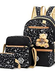 cheap -Women's Pattern / Print Canvas Bag Set Geometric Pattern 3 Pcs Purse Set Black / Purple / Blushing Pink