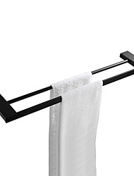 cheap -Bathroom Accessories Pendant Shower Room Double Towel Bar Wall-Mounted Copper Black Towel Hanging Brass Bathroom Parallel Bar Towel Rack