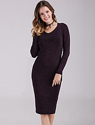 cheap -Women's Date Street Vintage Elegant Bodycon Dress - Solid Colored Purple One-Size
