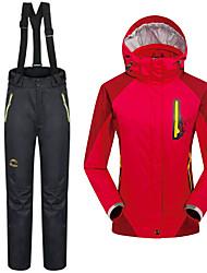 cheap -Women's Hiking 3-in-1 Jackets Winter Outdoor Thermal / Warm Waterproof Jacket 3-in-1 Jacket Winter Fleece Jacket Skiing Camping / Hiking Snowboarding Red / Blue
