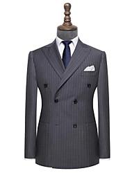 Недорогие -светлый уголь полоса шерсти на заказ костюм