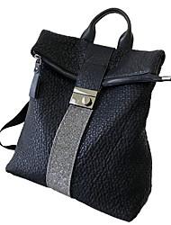 ราคาถูก -ระบายอากาศ หนัง ซิป กระเป๋าเป้สะพายหลัง สีทึบ ทุกวัน สีดำ