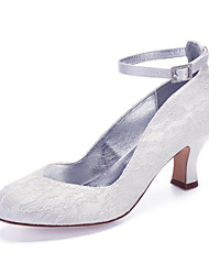 cheap -Women's Wedding Shoes Cuban Heel Round Toe Lace / Satin Classic / Vintage Spring & Summer / Fall & Winter White / Ivory / Party & Evening