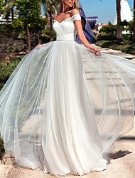 cheap -A-Line Off Shoulder Sweep / Brush Train Tulle Made-To-Measure Wedding Dresses with Beading by LAN TING Express