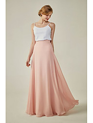 cheap -A-Line Spaghetti Strap Floor Length Spandex / Chiffon Bridesmaid Dress with / Two Piece