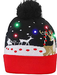 cheap -Christmas Reindeer Light up Flashing Beanie LED Hat Color-changing for Christmas Party Dress up Decoration 1pc