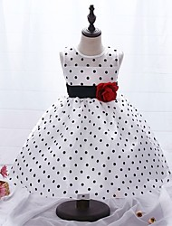 cheap -Kids Toddler Girls' Sweet Cute Polka Dot Floral Sleeveless Knee-length Dress White