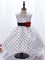 cheap -Kids Toddler Girls' Sweet Cute Polka Dot Floral Sleeveless Knee-length Dress White