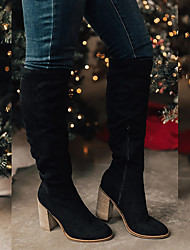cheap -Women's Boots Chunky Heel Pointed Toe Suede Knee High Boots Vintage / Casual Spring &  Fall / Fall & Winter Black / Brown / Almond