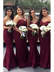 cheap -Mermaid / Trumpet Sweetheart Neckline Court Train Lace Bridesmaid Dress with Sash / Ribbon