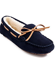cheap -Women's Loafers & Slip-Ons Flat Heel Round Toe Daily Suede Solid Colored Fuchsia Dark Blue Coffee