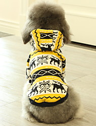 cheap -Dog Sweatshirt Winter Dog Clothes Yellow Costume Polyster Print Deer Cosplay Christmas XS S M L