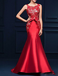 cheap -Mermaid / Trumpet Luxurious Engagement Formal Evening Dress Jewel Neck Sleeveless Sweep / Brush Train Satin with Bow(s) Appliques 2021