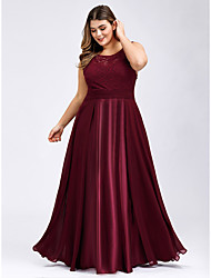cheap -A-Line Elegant & Luxurious Prom Dress Jewel Neck Sleeveless Floor Length Lace Satin with Lace Insert 2020