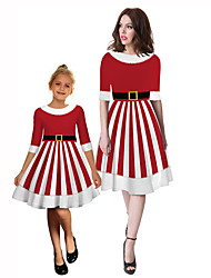 cheap -Mommy and Me Striped Color Block Christmas Patchwork Half Sleeve Knee-length Dress Red