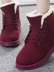 cheap -Women's Boots Snow Boots Flat Heel Round Toe PU Booties / Ankle Boots Winter Black / Brown / Wine
