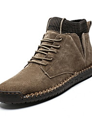 cheap -Men's Comfort Shoes Leather Fall & Winter Boots Booties / Ankle Boots Black / Brown / Army Green