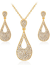 cheap -Women's White Cubic Zirconia Bridal Jewelry Sets Geometrical Pear Fashion Imitation Diamond Earrings Jewelry Gold For Gift Daily 1 set