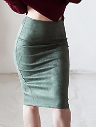 cheap -Women's Casual / Daily Basic Skirts Solid Colored White Black Blue
