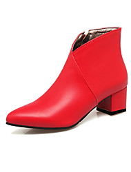 cheap -Women's Boots Chunky Heel Pointed Toe Faux Leather Booties / Ankle Boots Casual / Minimalism Walking Shoes Spring &  Fall / Fall & Winter Black / Red / Blue