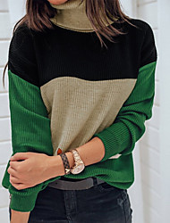 cheap -Women's Daily Blouse - Color Block Green