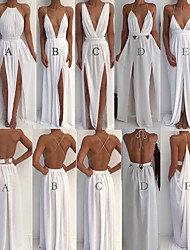 cheap -A-Line Spaghetti Strap Sweep / Brush Train Chiffon Beautiful Back / Elegant Prom Dress with Split Front / Criss Cross 2020
