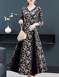 cheap -Women's Daily Wear Going out Vintage Elegant Sheath Swing Dress - Floral Print Black M L XL XXL