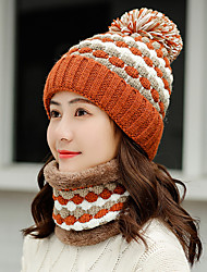cheap -Women's Active Basic Cute Acrylic Knitwear Floppy Hat-Color Block Fall Winter Black Blushing Pink Camel