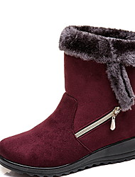 cheap -Women's Boots Snow Boots Flat Heel Round Toe Suede Booties / Ankle Boots Winter Black / Brown / Red