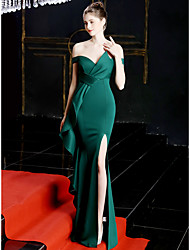 cheap -Mermaid / Trumpet Off Shoulder Sweep / Brush Train Satin Sexy / Elegant Formal Evening Dress with Split Front / Ruffles 2020
