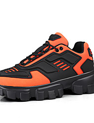 cheap -Women's Athletic Shoes Flat Heel Round Toe Leather / Mesh Sporty / Casual Running Shoes / Fitness & Cross Training Shoes Spring / Fall Black / Black / Yellow / Orange / Color Block
