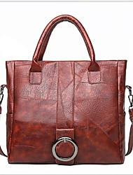 ราคาถูก -สำหรับผู้หญิง PU กระเป๋าถือยอดนิยม สีทึบ สีดำ / สีน้ำตาล