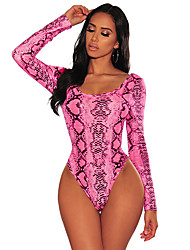 cheap -Women's Print Sexy Bodysuits Nightwear Snakeskin Blushing Pink Gray S M L