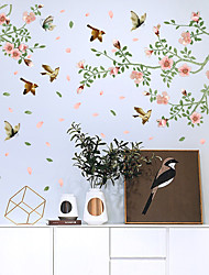 cheap -SK9283 Creative Floating Flowers And Birds Wardrobe Living Room Dining Room Entrance Bedroom TV Background Wall And Other Decorative Wall Stickers
