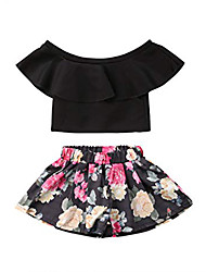 cheap -Baby Girls' Casual / Active Floral / Solid Colored Ruffle / Print Sleeveless Long Clothing Set Black