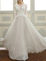 cheap -A-Line Jewel Neck Floor Length Chiffon 3/4 Length Sleeve Made-To-Measure Wedding Dresses with Lace Insert 2020